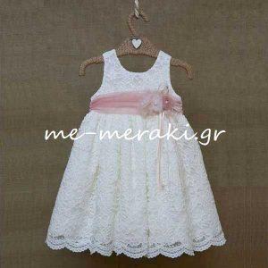 Φόρεμα Βάπτισης Δαντέλα Λευκή