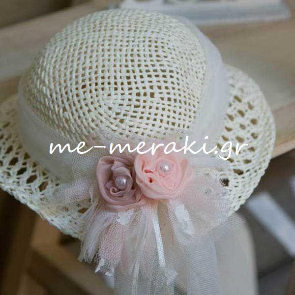 fc055a12c0b0 Βαπτιστικό Ψάθινο Καπέλο Κορίτσι