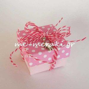 Μπομπονιέρα Βάπτισης Κουτί Ροζ