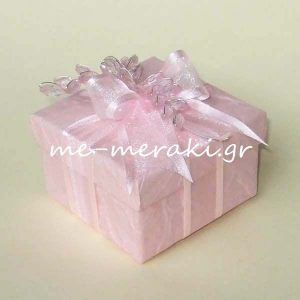 Μπομπονιέρες Γάμου Κουτί Ροζ Κλαράκια