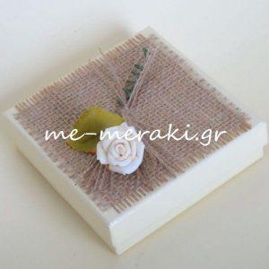 Μπομπονιέρα Γάμου Κουτί Λινάτσα Λουλούδι