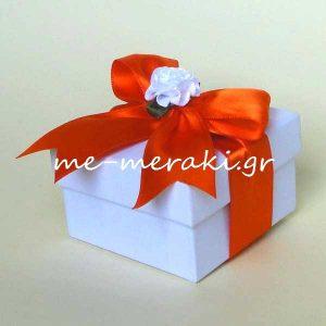 Μπομπονιέρα Γάμου Κουτί Κορδέλα Πορτοκαλί