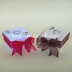 Μπομπονιέρα Γάμου Κουτί Καρδιά Μονογράμματα