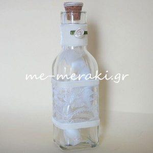 Μπομπονιέρα Μπουκάλι Δαντέλα Βελούδο Λουλούδι