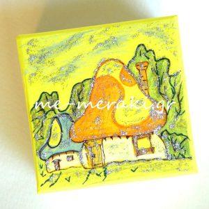 Μπομπονιέρες ζωγραφισμένο κουτί μανιταρόσπιτο