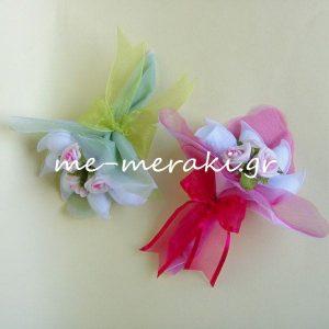 Μπομπονιέρα Γάμου Οργαντίνα Λουλούδια