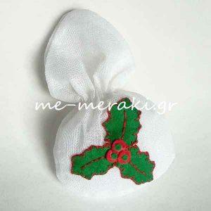 Μπομπονιέρα Πουγκί Χριστουγεννιάτικη