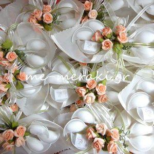 Μπομπονιέρα Γάμου Οργαντίνα με Λουλουδάκια