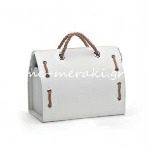 Τσάντα Λευκή με Λινάτσα