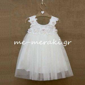 Βαπτιστικό Φόρεμα Δαντέλα - Λουλούδια