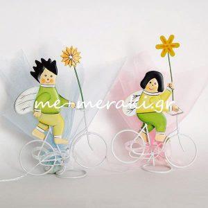 Μπομπονιέρα Βάπτισης Παιδάκια Ποδήλατο