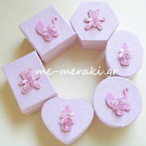 Μπομπονιέρα Βάπτισης Κουτί Ροζ ή Σιέλ