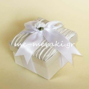 Μπομπονιέρες Γάμου Κουτί Λευκό Σατέν