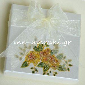 Μπομπονιέρα Γάμου Κουτί Μπουκέτο Ζωγραφισμένο