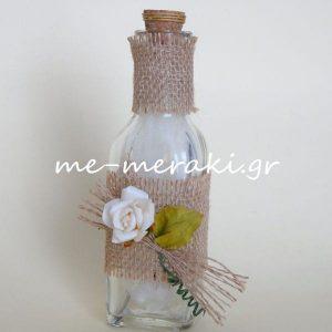 Μπομπονιέρες Μπουκάλι Λινάτσα Τριαντάφυλλο