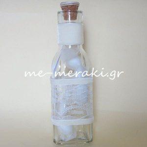 Μπομπονιέρες Γάμου Μπουκάλι Δαντέλα και Βελούδο