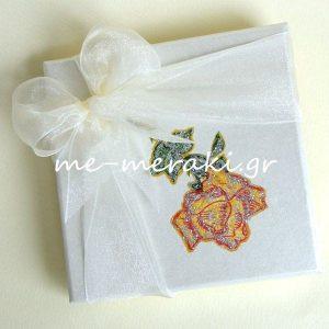Μπομπονιέρα Γάμου Κουτί Ζωγραφισμένο Λουλούδι