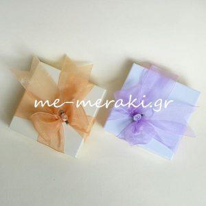 Μπομπονιέρα Γάμου Κουτί Λιλά Κορδέλα