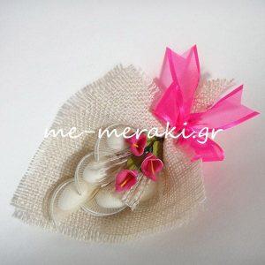 Μπομπονιέρα Γάμου Λινάτσα με Κρινάκια φούξια