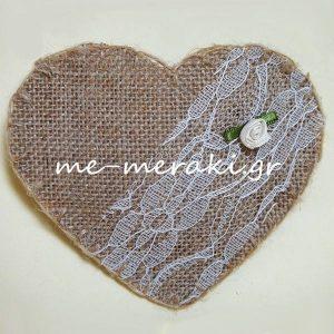 Μπομπονιέρα Γάμου Καρδιά Λινάτσα Δαντέλα Λ031-Β