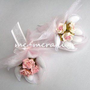 Μπομπονιέρα Γάμου Λουλούδια αφής με Οργαντίνα