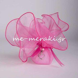 Μπομπονιέρα Γάμου Οργάντζα Καρδιά