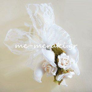 Μπομπονιέρα γάμου Δαντέλα Λευκή