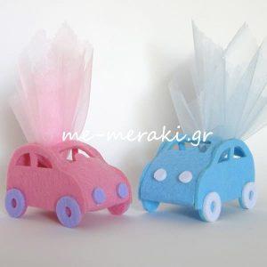 Μπομπονιέρα Βάπτισης Αυτοκίνητο Σιέλ-Ροζ
