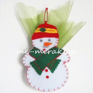 Μπομπονιέρες χριστουγεννιάτικα στολίδια χιονάνθρωπος