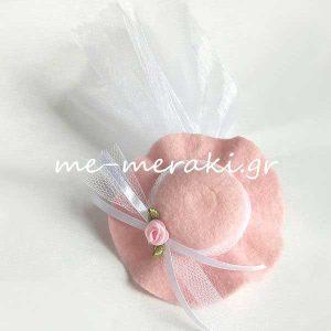 Μπομπονιέρα Βάπτισης Ροζ Καπέλο