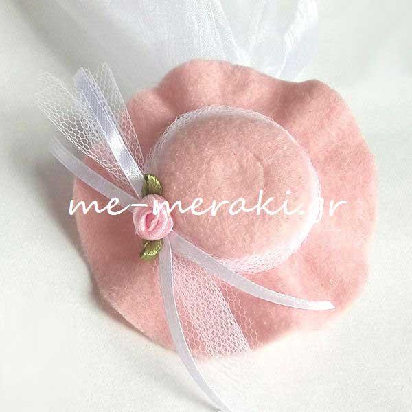 Μπομπονιέρες Βάπτισης Μπομπονιέρα Βάπτισης Ροζ Καπέλο Κορίτσι ΥΦ084-Β